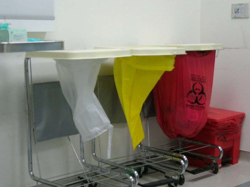 Medical Waste Bins with white, yellow and red bags