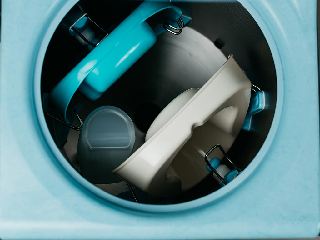 DDC Dolphin Panamatic Midi Bedpan Washer Disinfector Loaded With Bedpans